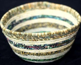 Large Rope Bowl Green & Cream