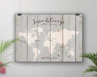 Grey Upcycled Wood Style Travel Map, Personalised World Map, Places We've Been Map, Custom Map, Where We Met, Our Journey, Map your travels