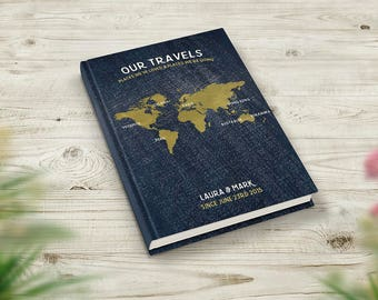 Bucket List Journal, Travel Notebook, Personalised Book, Travelers Gift, Places We've Been, Denim Gold World Map, Our Adventures and Travels