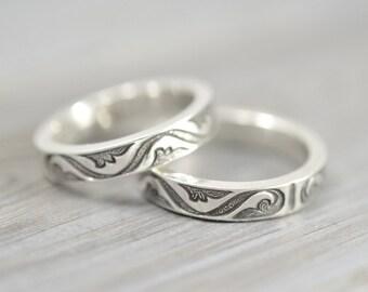Boyfriend Girlfriend rings, Personalized, Free custom Engraving, Partner Rings, Set of 2, Wedding bands, Promise rings, 925 Sterling silver