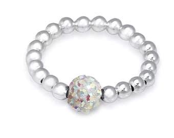 Sterling Silver Stretch Ring - Crystal Shamballa