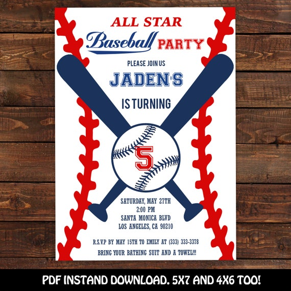 baseball invitation baseball party invitation printable baseball