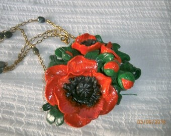 Sold-red poppy with buds and chain with agate