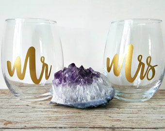Mr and Mrs Stemless Wine Glasses, Mr and Mrs Wine Glasses, Mr and Mrs, Mr and Mrs Gift, Wedding Gift, Engagement Gift, Wine Glasses, Wine