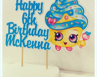 Shopkins--Inexpensive Personalized Cake Toppers with Name & Character--Kid's Birthday Party Decorations