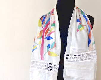Scarf hand painted silk, with silk quality pongè 5 in multicolor; perfect for a summer season
