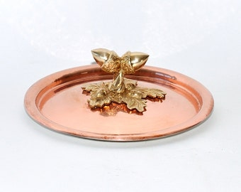 Ruffoni Italy Hand Hammered Copper with Brass Acorn Knob Finial Pot Pan Lid