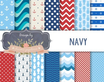 SALE Nautical Red and Blue Digital Papers, Anchor Digital Papers, Navy Digital Papers, Marine Digital Paper, navy pattern