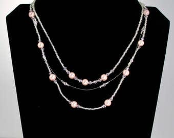Multi Strand  Pink Pearl & Crystal Necklace