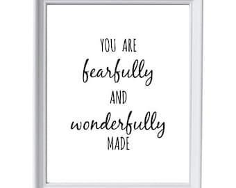 You Are Fearfully and Wonderfully Made 8x10 Instant Download Printable, Nursery Decor, Kids Room, Playroom, Black & White Decor, Bedroom Art