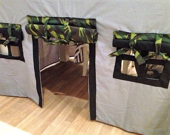 Overtable playhouse fort,Camouflage Childrens playtent,  tablecloth playhouse