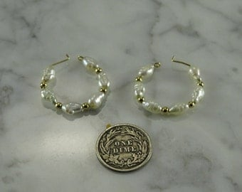 Pearl 14k Gold Post/ Beads with Rice Pearl Hoop Earrings (pierced)