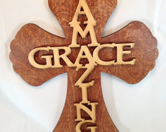 Wood Cross with Amazing Grace