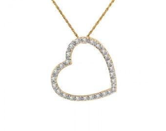 0.30 Carat Diamond Heart Pendant 14K Yellow Gold