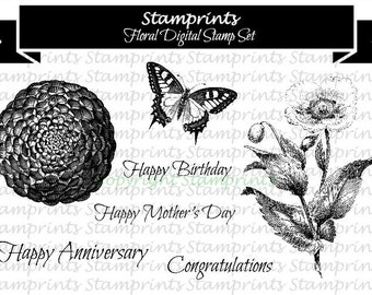 Digital Stamp Set - Floral (by Stamprints).Printable Vintage Images. Coloring Art.Sentiments