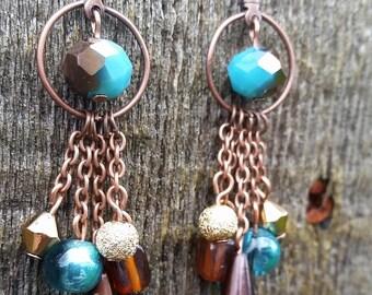 Copper & Turquoise Dangle Earrings