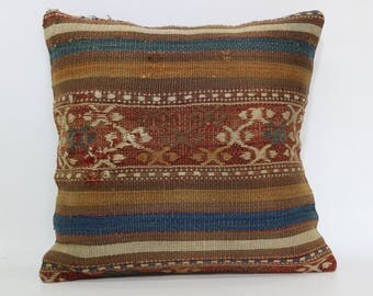 Striped Kilim Pillow Throw Pillow Home Decor 16x16 Handwoven Kilim Pillow Anatolian Pillow Ethnic Pillow Cushion Cover  SP4040-2347
