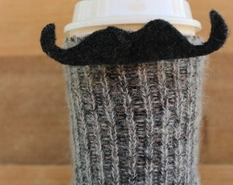 Mohair Mustache Coffee Sweater Cozie Felted Merino Wool