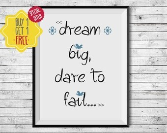 Dream big, Dare to dream, Art prints, gift for teen, quote print, Calligraphy, Bedroom wall decor, Typography poster, print at home, prints