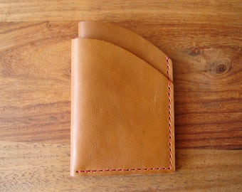 Tan leather credit card wallet