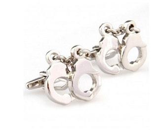 Large Handcuffs Police Cufflink-B67  ** Free Gift Box **
