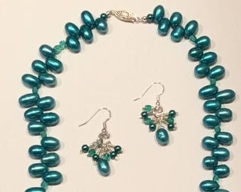 Teal Pearl Necklace and Earring Set