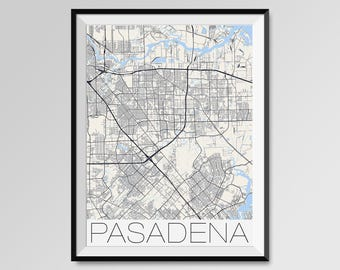 PASADENA Texas Map, Pasadena City Map Print, Pasadena Map Poster, Pasadena Wall Map Art, Pasadena gift, Custom city maps, Personalized maps