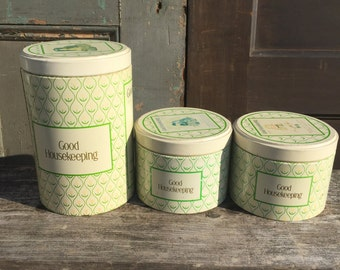 Set of 3 Tin Good Housekeeping Canisters