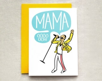 Funny Card for Mom, Freddie Mercury Mother's Day Card, Bohemian Rhapsody, Queen Mother's Day Card, Mother's Day Card