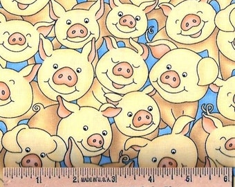 Hoffman Fabrics ... HAPPY PIG FACES Barnyard Buddies - Yellow/Gold Pigs on Sky Blue  ~ 100% Cotton - Quilt Shop Quality ~ By The Yard