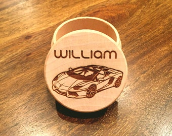 Car Tooth Fairy Box, Keepsake Box, Ring or Earing Box, Personalized Engraved Wooden Box - Child Tooth Fairy Box