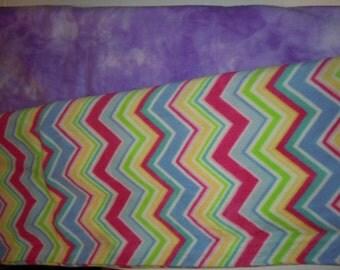 Purple / Pink Chevron Blanket - Fleece Blanket - No Sew - Hand Tied - Fleece Tie Blanket