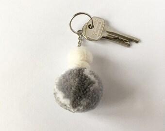 Grey pompom keyring, pompom and felt ball keychain, large bag charm, patterned pom, zip charm, valentines gift, keyring for children