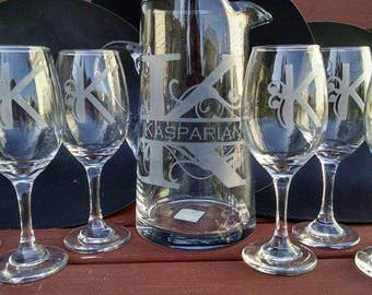 Wine Glass and Pitcher Set of 7
