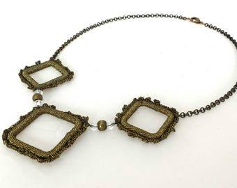 Handmade bib necklace statement, Ethnic geometric necklace, short necklace with geometric pendant, statement necklace, crochet necklace