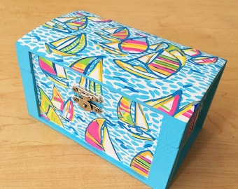 Hand Painted Wooden Lilly Pulitzer Jewelry Box in You Gotta Regatta