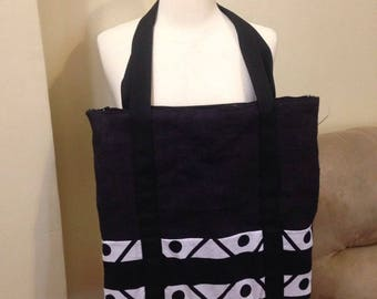 Black, burlap, laptop carrier, tote bag