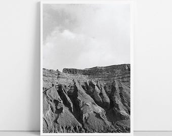 Cliff Photo, Black and White, Landscape Photography, Nature Texture, Mountain Wall Art Decor, Printable Large Poster, Instant Download