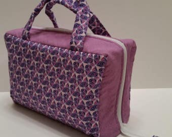 Purple Geometric Design Lunch Tote Opening Into a Tray.