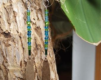 Blue and green bead drop earrings