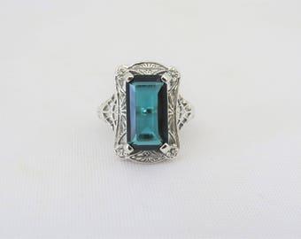 Vintage Sterling Silver London Blue Topaz Filigree Ring Size 7