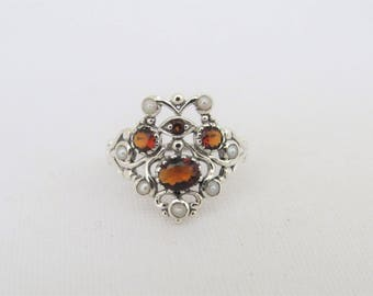 Vintage Sterling Silver Garnet & Seed Pearl Ring Size 6