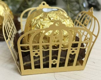 50pcs Birdcage Cupcake Wrappers Candy Box Bar Wedding Favors And Gifts Bar Party Chocolate Candy Bar Cake Accessories Party