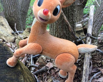 """8"""" Flocked Rudolph with Lighted Nose"""