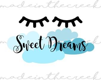 Sweet Dream, Clouds, Sleepy Eyes, SVG File, Digital Print, PNG, PDF, Cut File, Silhouette, Cricut