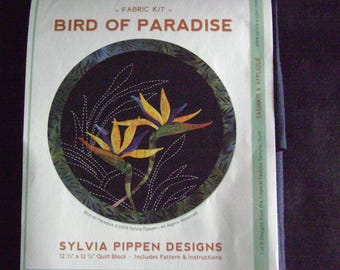 Bird of Paradise Japanese Applique and Sashiko Tropical Flower Quilt Block Kit Designed by Sylvia Pippen