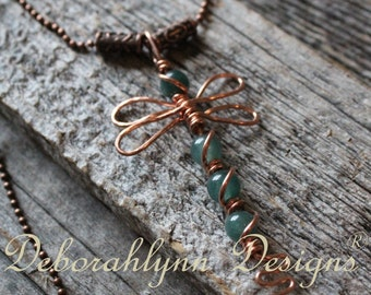 DRAGONFLY Pendant Necklace, Wire Dragonfly, Copper Dragonfly, Wire Wrapped Jewelry