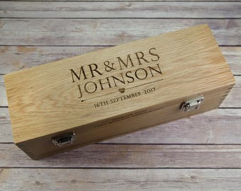 Solid Oak Wooden Wedding Day Wine Box - Oak Wine Box - Oak Wedding Gift - 1st Anniversary Gift - 5th Anniversary Gift - Oak Wedding Gift