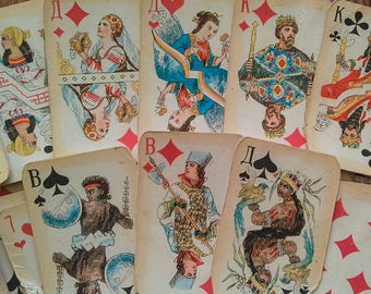 Soviet playing cards Vintage card deck Russian cards deck Souvenir deck Collectible card deck Antique card deck Retro card deck Old deck