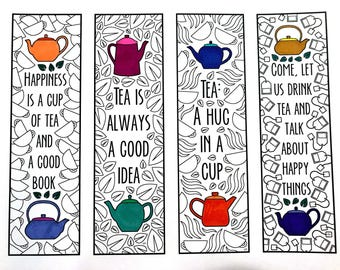 Tea Quote Bookmarks - PDF Zentangle Coloring Page
